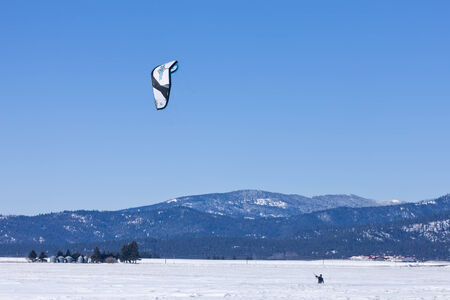 kiting: Kite boarder on the prairie on the Rathdrum Prairie in north Idaho