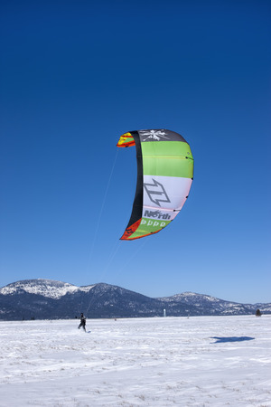 Large kite pulling boarder on the Rathdrum Prairie in north Idaho