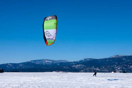 Kite boarding on the snow on the Rathdrum Prairie in north Idaho