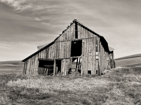 b w: B W of old barn  Stock Photo