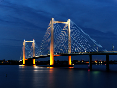 Cable bridge in the evening in Kennewick, Washington