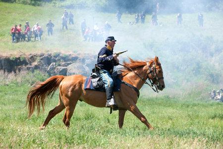 Union army calvary reenactor  Medical Lake, Washington USA - May 24, 2014  Civil war reenactment of Deep creek battle near Medical Lake, Washington on May 24, 2014