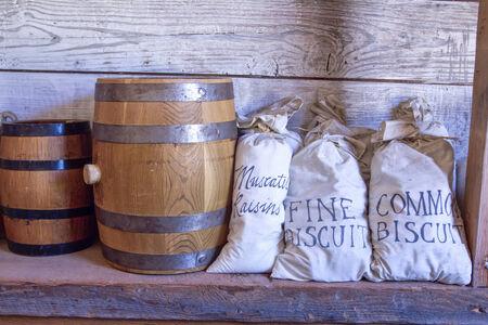 tacoma: Barrels and bags of food in Tacoma, Washington  Stock Photo