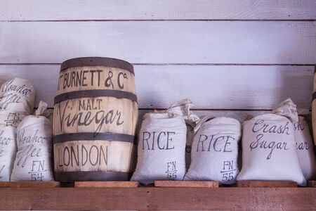 tacoma: Vintage food bags on display at Fort Nisqually in Tacoma, Washington
