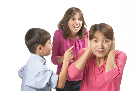 bother: Frustrated from nagging kids  Stock Photo