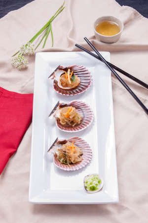 Overview of Korean noodles on seashells. Banco de Imagens