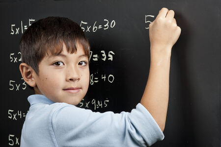 multiplication: Doing his multiplication.