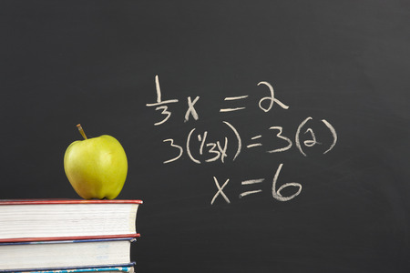 Green apple and algebra equation. Imagens