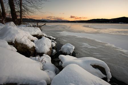 frozen lake: Frozen Hauser Lake in Idaho.