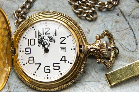 Close up of pocket watch. Stock Photo