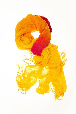 frayed: A display of a fashionable yet used and partly frayed scarf. Stock Photo