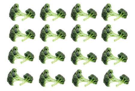 brocolli: Repeating pattern of brocolli set against a white background. Stock Photo