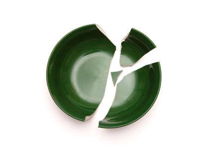 A concept image of a bowl broken into pieces. 版權商用圖片