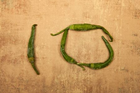 number 10: Number 10 from green peppers.