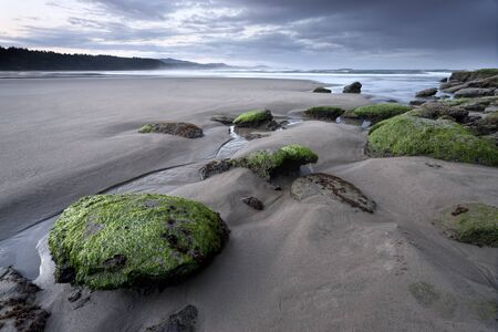morn: Scenic Otter Rock beach north of Newport, Oregon. Stock Photo