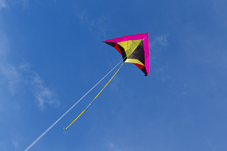 flying a kite: Flying a kite up high.