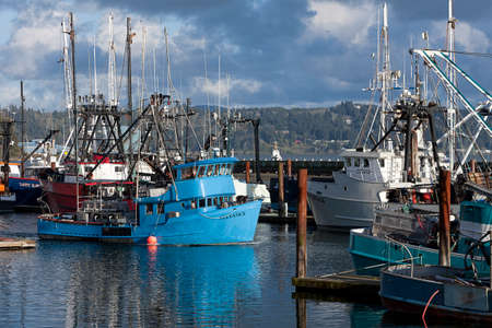 famous industries: Docked fishing boats at the historic bay front in Newport, Oregon.