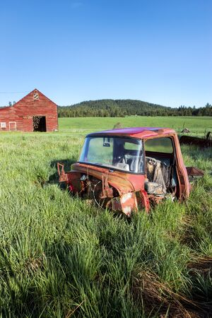 tensed: Old truck in grass south of Tensed Idaho.