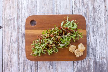 croutons: Sedum salad and croutons.