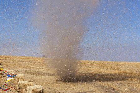 davenport: Dust devil kicking up debris near Davenport, WA. Stock Photo