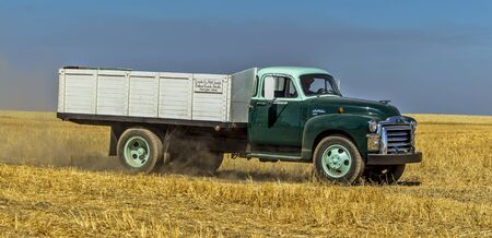 davenport: A panorama of a vintage farm truck in the field near Davenport, Washington during the vintage harvest. Editorial