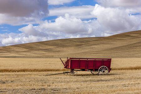 colfax: Wheat wagon in the field near Colfax, Washington. Stock Photo