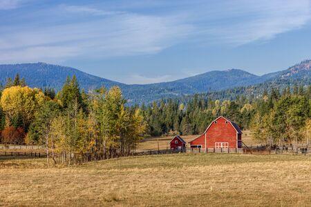 barnyard: Barnyard scenic in autumn near Twin Lakes, Idaho. Stock Photo