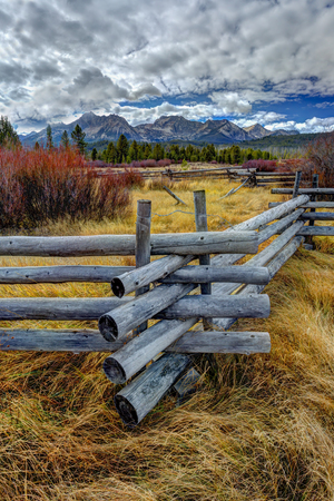 stanley: Close up of wood pole fence near Stanley, Idaho.