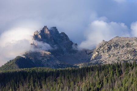 stanley: Rugged peaks of Heyburn mountain near Stanley, Idaho. Stock Photo
