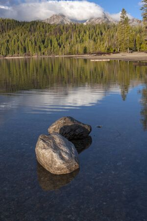 redfish: Rocks in shallow Redfish lake on sunny day near Stanley, Idaho..