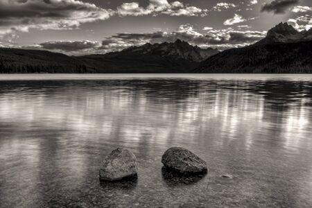 redfish: Redfish Lake in black and white near Stanley, Idaho. Stock Photo
