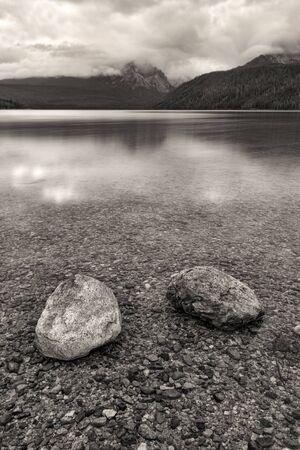redfish: BW of boulders in Redfish Lake in Stanley, Idaho. Stock Photo