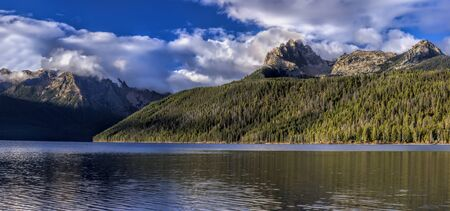 redfish: A panorama of Braxon Peak and Redfish Lake near Stanley, Idaho.