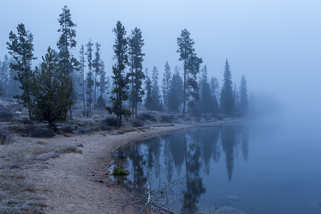 stanley: Early morning by Stanley lake in Idaho. Stock Photo