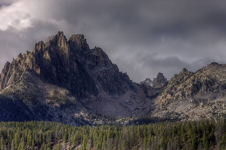 stanley: Braxon peak rises above the forest near Stanley, Idaho in the sawtooth mountain range.