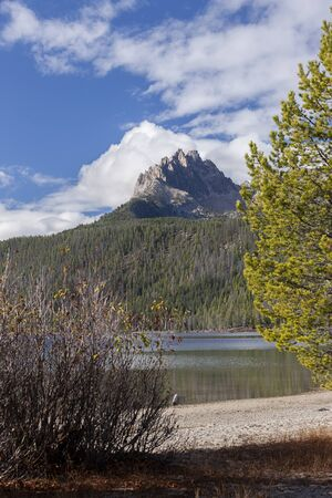 redfish: View of mountain peak from the beach at Redfish Lake near Stanley, Idaho.