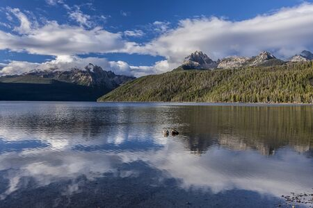 redfish: Beautiful Redfish Lake and the sawtooth mountains near Stanley, Idaho on a sunny day.