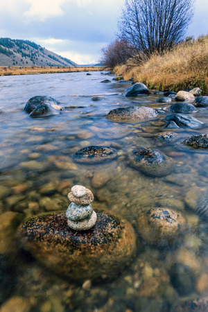 stanley: Stacked rocks in the Salmon river near Stanley, Idaho.