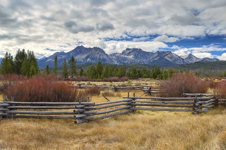 Rural countryside below the Sawtooth range near Stanley, Idaho.