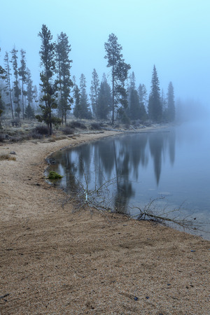 stanley: Early morning fog blankets the area around Stanley Lake in Idaho.
