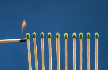 glow stick: Lighting the matches. Stock Photo