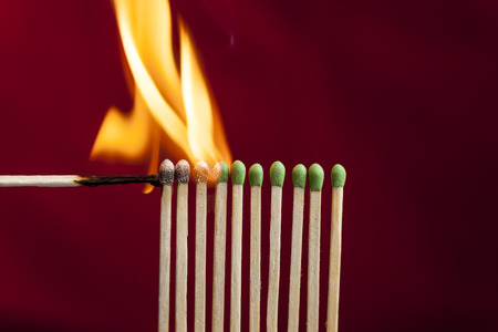 Chain reaction in matches.