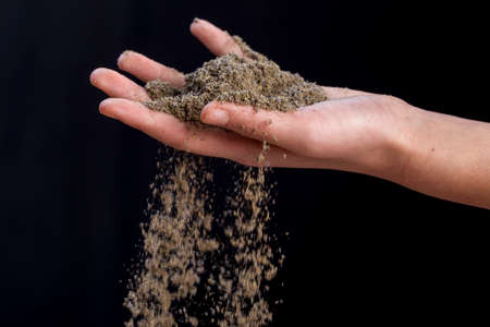 Lavender powder flows from hand. Stock Photo