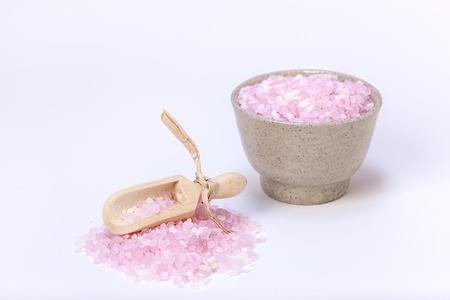 bath salts: Pink bath salts. Stock Photo