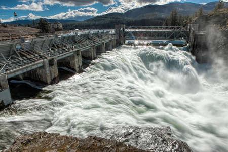 rushing water: Rushing water of Post Falls Dam in Idaho.