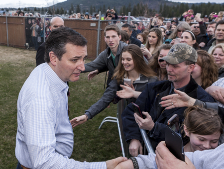 Ted Cruz shakes supporters hands at a campaign rally in Coeur dAlene, Idaho on March 5, 2016.