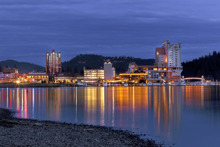 Downtown Coeur dAlene, Idaho in evening. Stock Photo