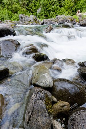 sol duc river: The salmon cascades along the Sol Duc river in Washington. Stock Photo