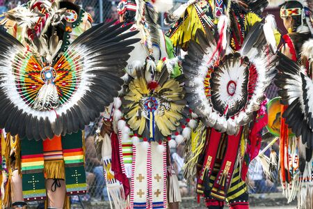 headdresses: Ceremonial feathered headdresses shown at the Julyamsh Powwow in Coeur dAlene, Idaho. Stock Photo