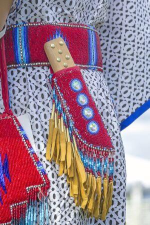 Ceremonial knife in sheath shown at the Julyamsh Powwow in Coeur dAlene, Idaho.